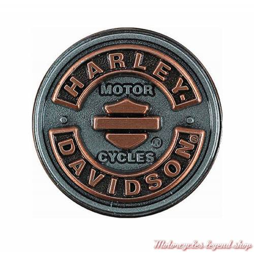 Pin's Bar & Shield Rockers Harley-Davidson, cuivré et argent antique, relief, P297061