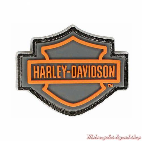 Pin's Bar & Shield PVC orange Harley-Davidson, métal, P516542