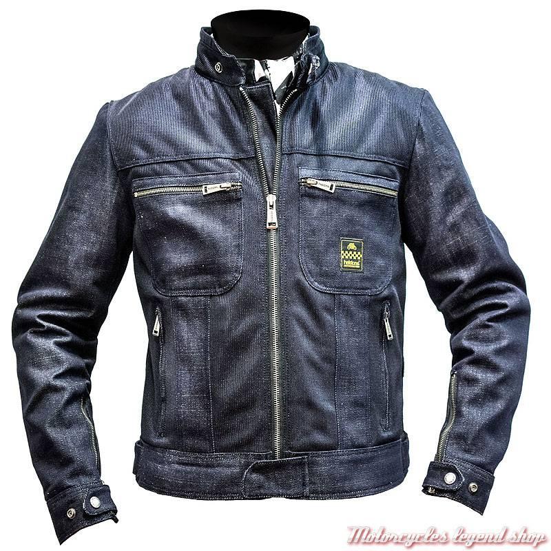 Blouson mesh jeans Genesis Helstons femme, bleu denim, homologué