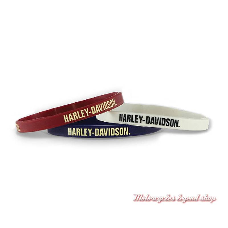 Bracelets silicone Nostalgic Harley-Davidson, bleu, rouge, blanc, WB28484