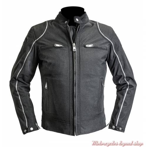 Blouson textile Modelo Helstons, été, noir, poly-nylon
