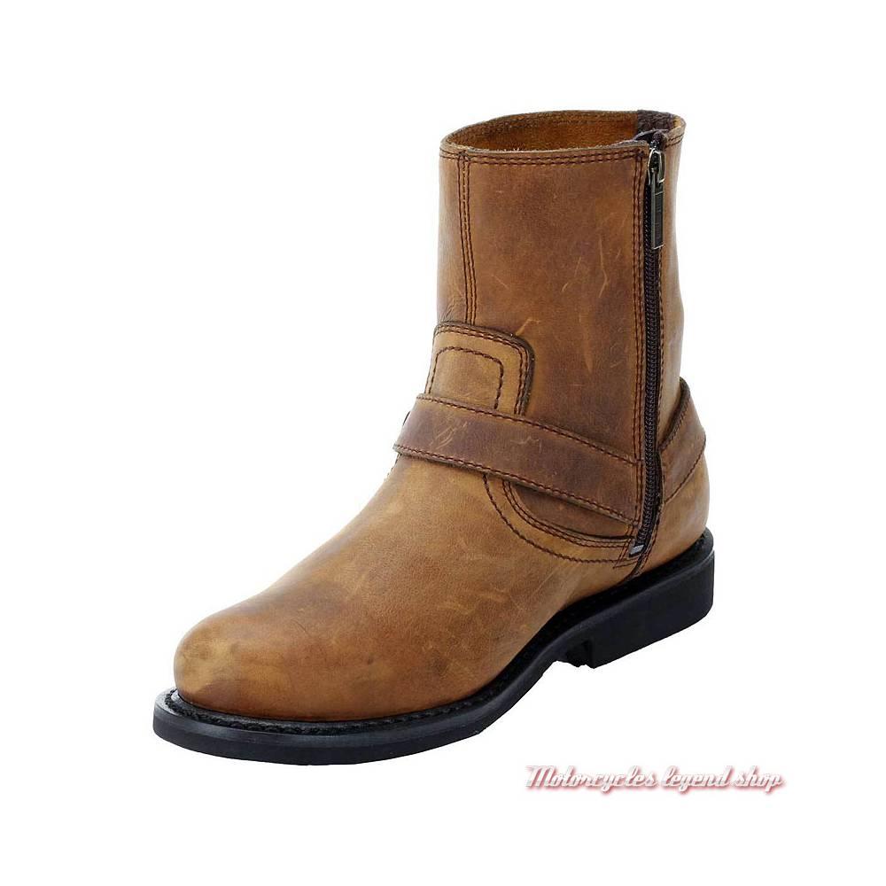 Boots Scout Harley-Davidson homme, cuir marron, fermeture zippée, intérieur, D95263
