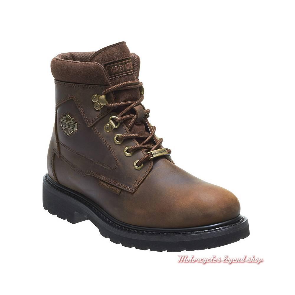 Chaussures Thurmond Harley-Davidson homme, cuir marron, waterproof, homologués CE, à lacets, D97015