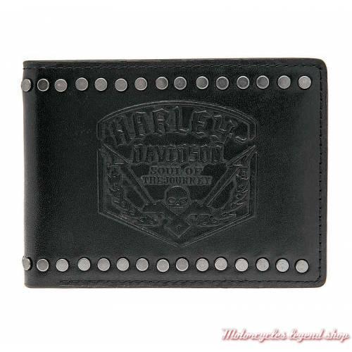 Portefeuille cuir Soul Journey Harley-Davidson, 2 volets, noir, skull, HDMWA10863