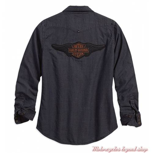Chemise Studded Yoke Harley-Davidson femme, denim, noir, manches longues, dos, 96303-18VW