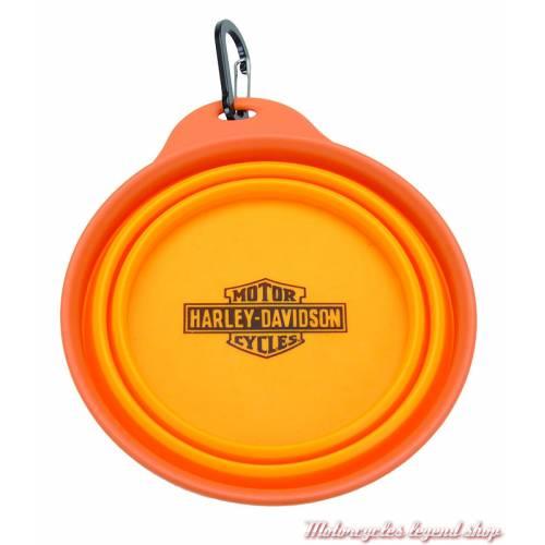 Petite gamelle de voyage Harley-Davidson, silicone, orange, H8509