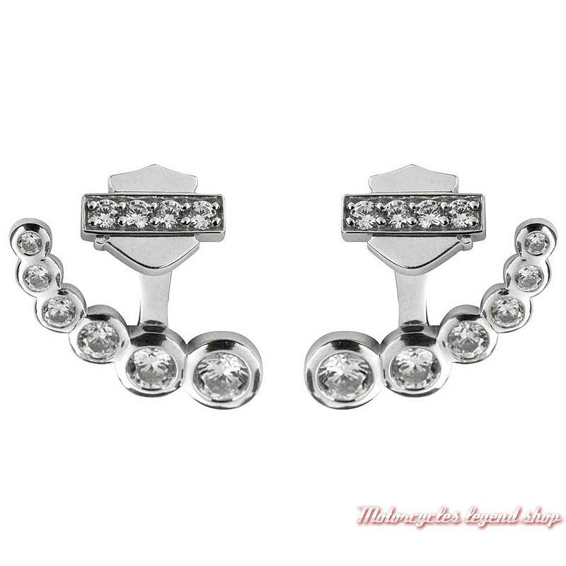 Boucles d'oreilles Infinity Bling Harley-Davidson femme, argent, strass, tour oreille amovible, HDE0458