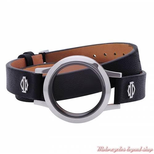 Bracelet double cuir Medaillon silver Harley-Davidson femme, noir, charms non compris, HSB0174