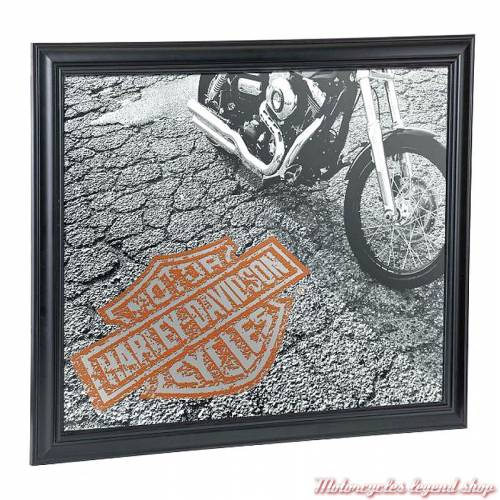 Miroir Asphalt Harley-Davidson, photographie noir & blanc, B&S orange, HDL-15229