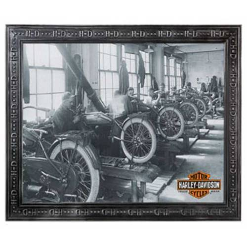 Miroir Factory Harley-Davidson, photographie usine archives noir & blanc, B&S orange, HDL-15214