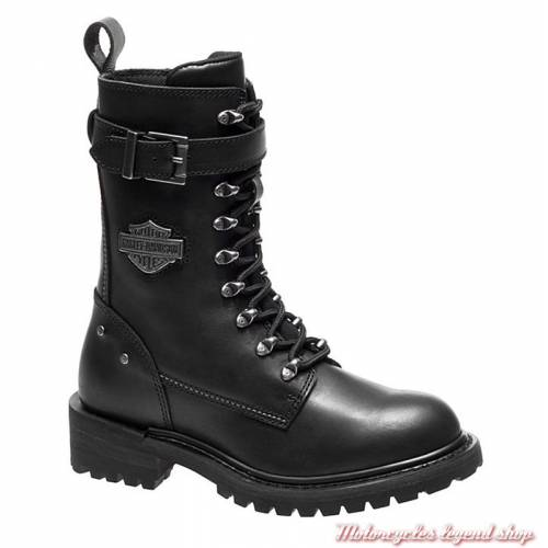 Chaussures Calvert Harley-Davidson femme, à lacets, zippé, Cool system, noir, D86035