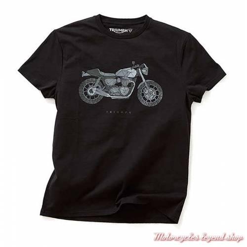 Tee-shirt Decker Triumph homme, , noir, manches courtes, coton, MTSS18401