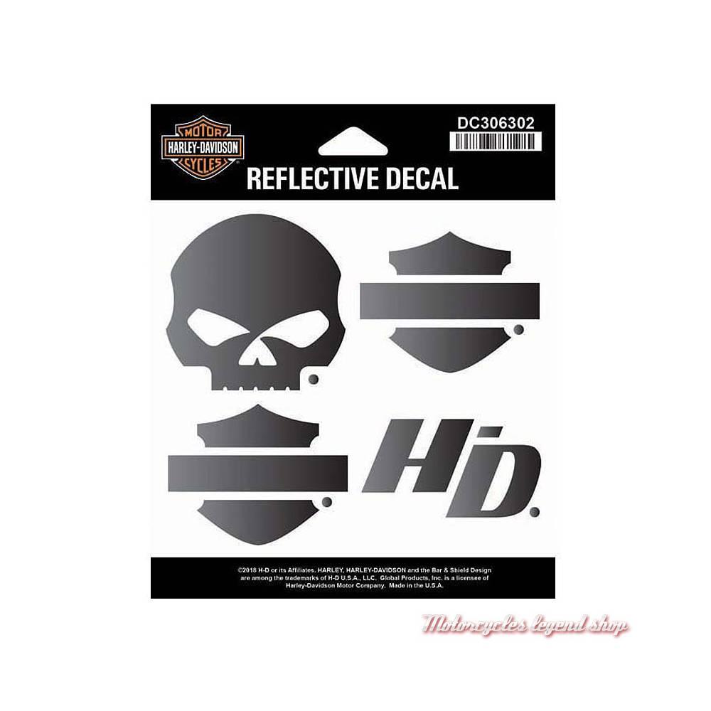 4 Stickers réfléchissants Night Rider Harley-Davidson, noirs, DC306302