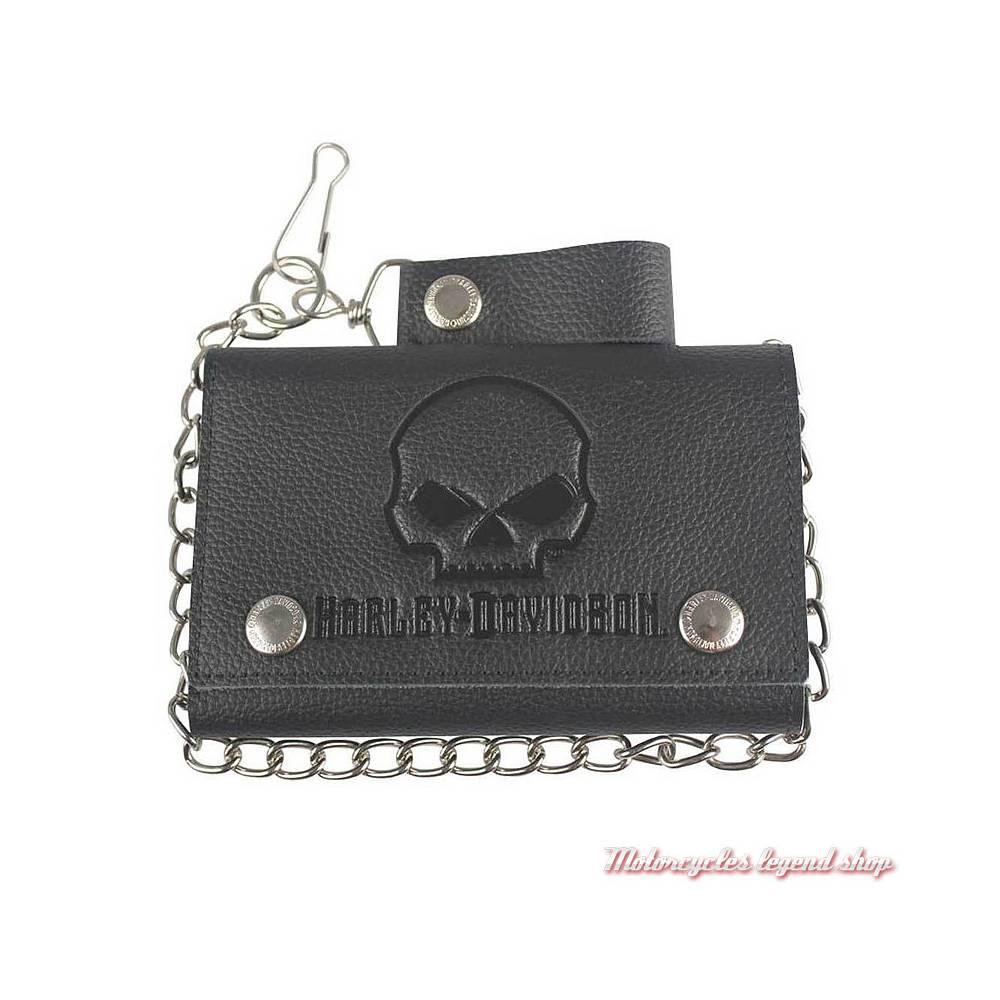 Portefeuille Skull black Harley-Davidson, Plus grand, cuir noir grainé, chainette, XML4719-BLK
