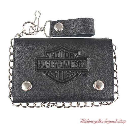 Portefeuille Bar & Shield noir Harley-Davidson, plus grand, cuir grainé, chainette, XML3514-BLK