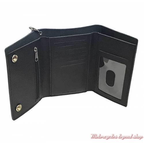 Portefeuille Bar & Shield noir Harley-Davidson, plus grand, cuir grainé, chainette, intérieur, XML3514-BLK