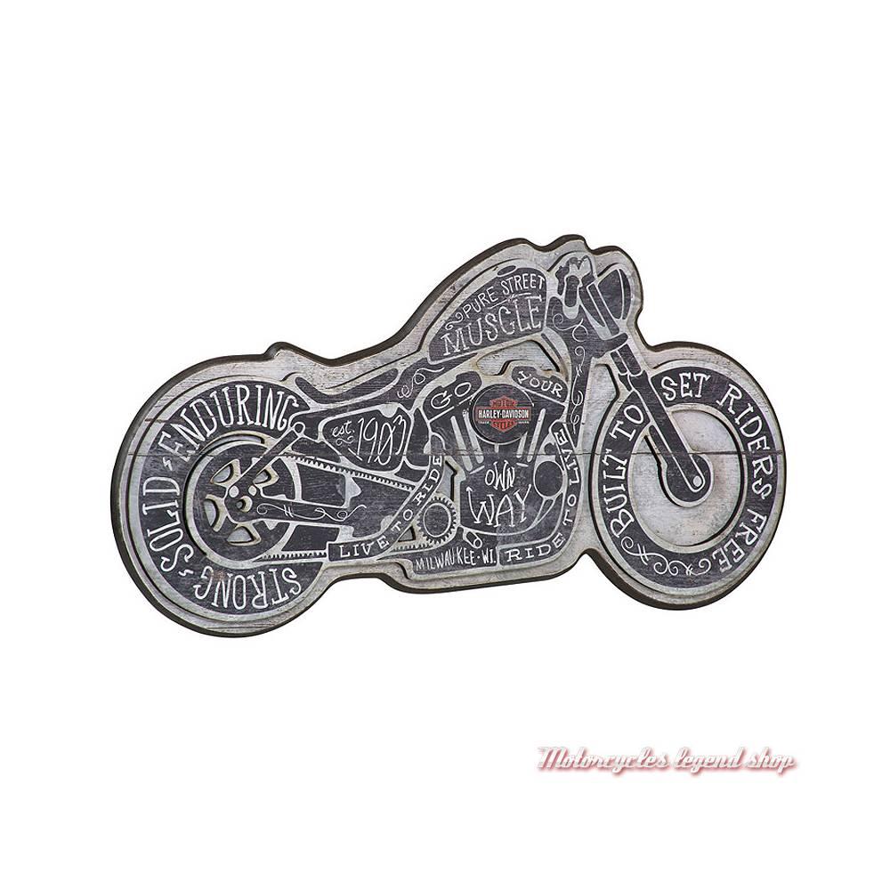 Panneau Street Muscle Harley-Davidson, forme moto, teinte bois clair, noir, HDL-15319