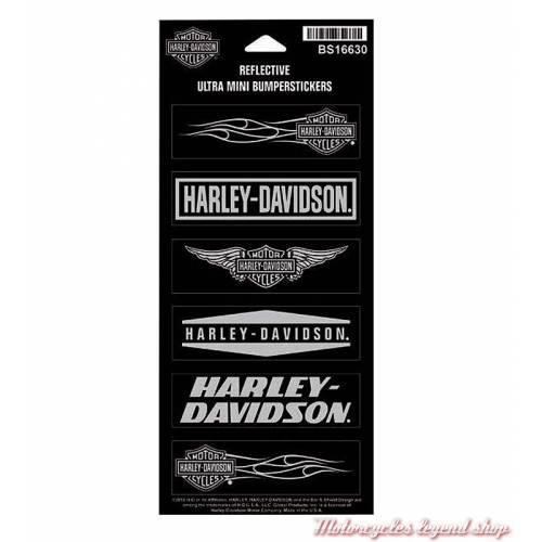 6 Mini Stickers H-D réfléchissants, Harley-Davidson BS16630