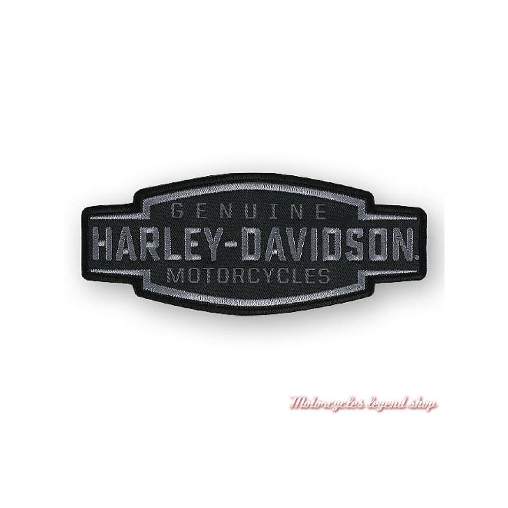 Patch Velocity Text Harley-Davidson, brodé, noir, gris, EM327802