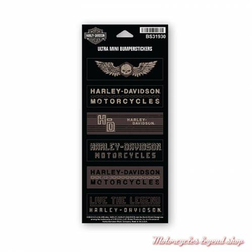 6 Mini Stickers Forged Harley-Davidson, noir marron, BS31930