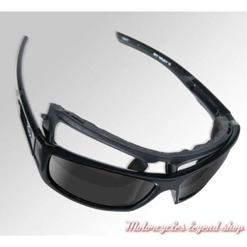 Lunettes solaires Backbone Bleu miroir Harley-Davidson, noir mat, visuel cavité intérieur amovible, HDBAC12