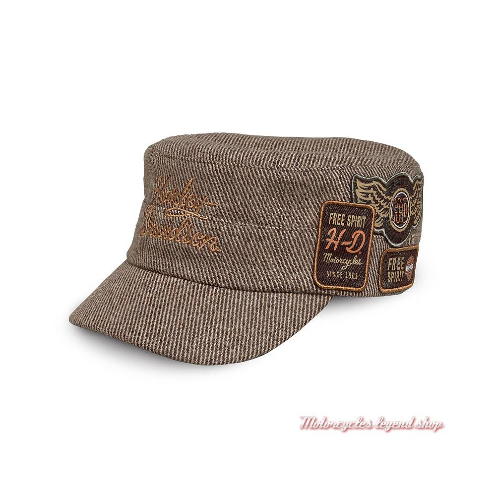 Casquette Flat Top Patch Harley-Davidson femme, marron, laine, polyester, 97719-19VW