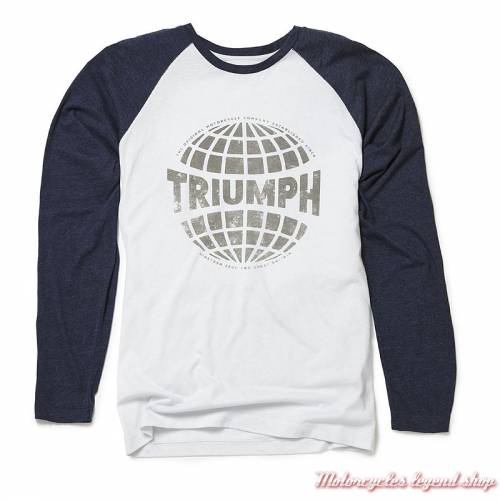 Tee-shirt Reid Raglan Triumph homme, blanc, navy, manches longues, coton, MTLA18013