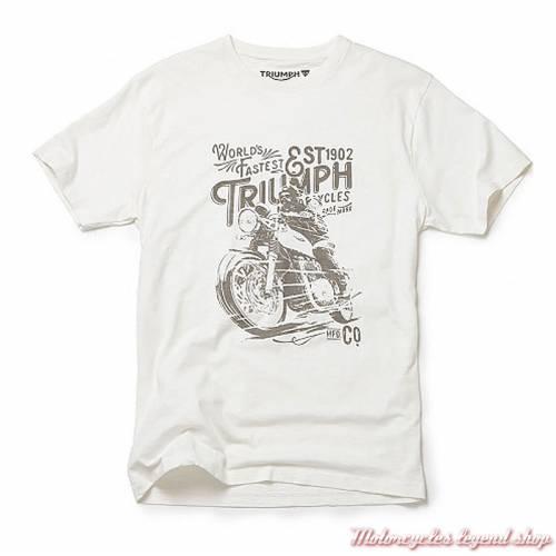 Tee-shirt Gus Triumph homme, écru, coton, manches courtes, MTSA18001