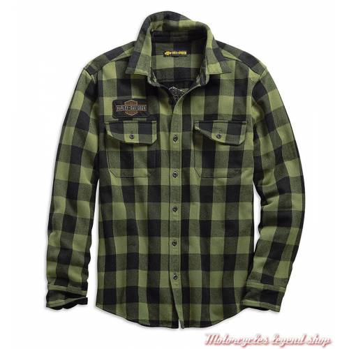 Chemise à carreaux Buffalo Harley-Davidson homme, manches longues, vert, noir, coton, 99139-19VM