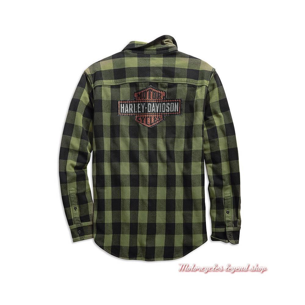 Chemise à carreaux Buffalo Harley-Davidson homme, manches longues, vert, noir, coton, dos, 99139-19VM