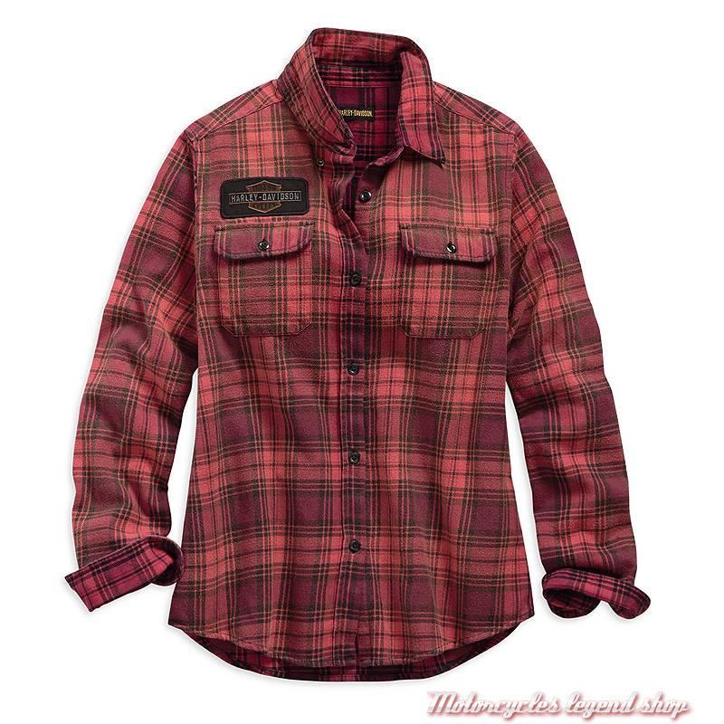09342e3cac Chemise à carreaux Harley-Davidson femme, manches longues, rouge orange,  noir,