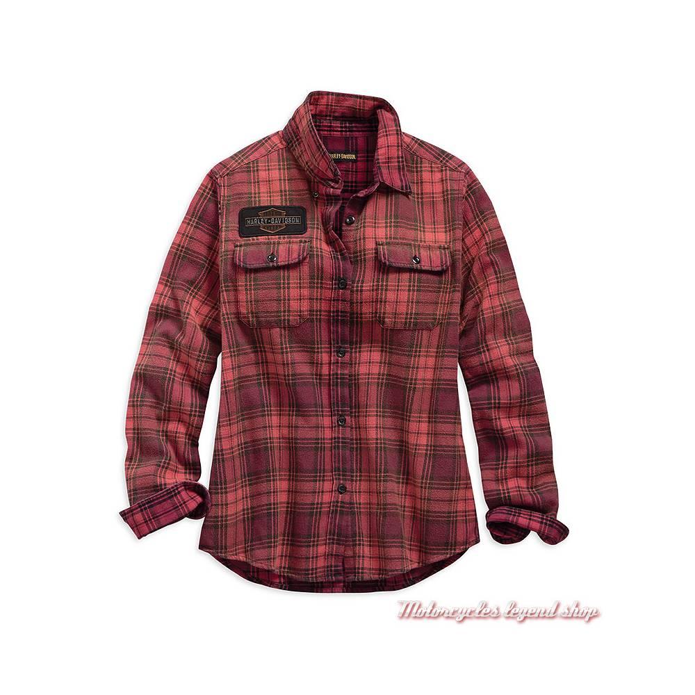 Chemise à carreaux Harley-Davidson femme, manches longues, rouge orange, noir, coton,  99123-19VW