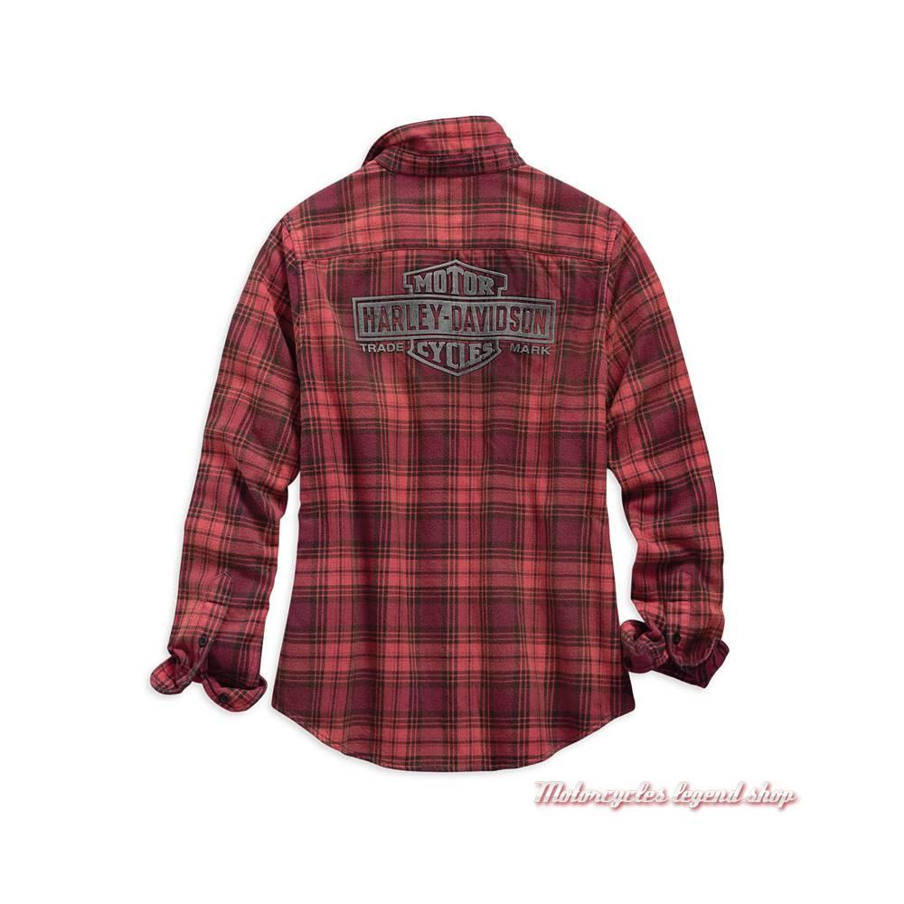 Chemise à carreaux Harley-Davidson femme, manches longues, rouge orange, noir, coton, dos, 99123-19VW