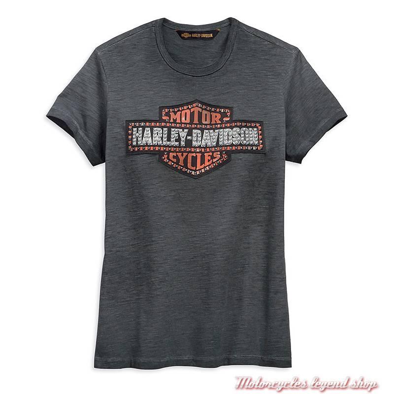 Tee-shirt Bar & Shield Logo Harley-Davidson femme, noir délavé, manches courtes, coton, polyester, 99274-19VW