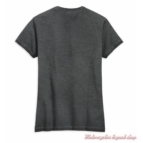 Tee-shirt Bar & Shield Logo Harley-Davidson femme, noir délavé, manches courtes, coton, polyester, dos, 99274-19VW