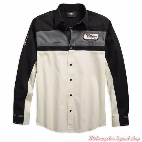 Chemise H-D Racing Harley-Davidson homme, manches longues, écru, noir, coton, 99163-19VM