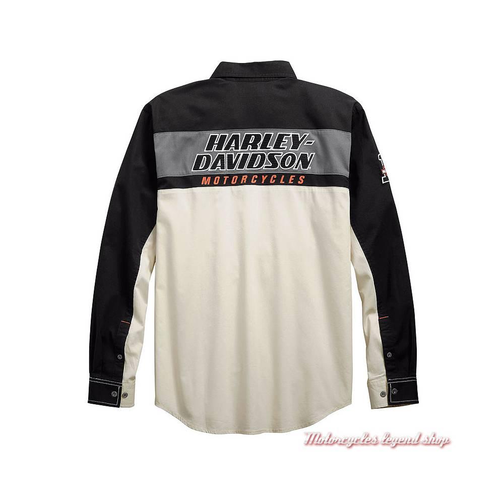 Chemise H-D Racing Harley-Davidson homme, manches longues, écru, noir, coton, dos, 99163-19VM
