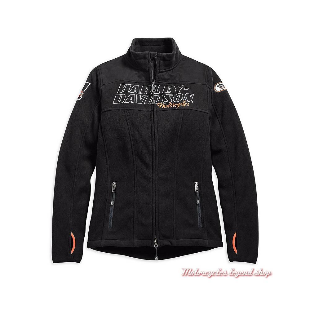 Veste polaire H-D Racing Harley-Davidson femme, zippée, noir, polaire, polyester, 98598-19VW