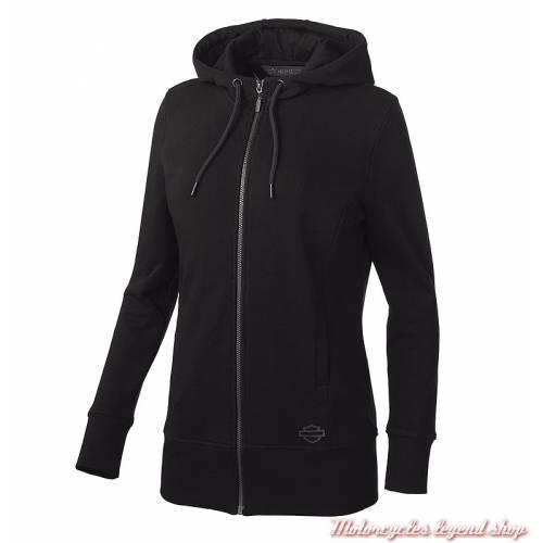 Sweatshirt long Logo Harley-Davidson femme, noir, zippé, capuche, clos déco, coton, 99176-19VW