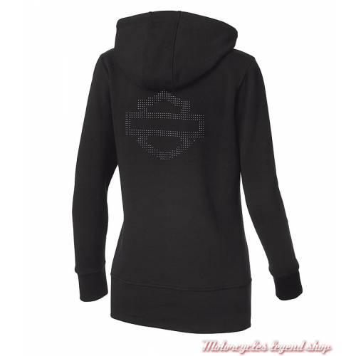 Sweatshirt long Logo Harley-Davidson femme, noir, zippé, capuche, clos déco, coton, dos, 99176-19VW