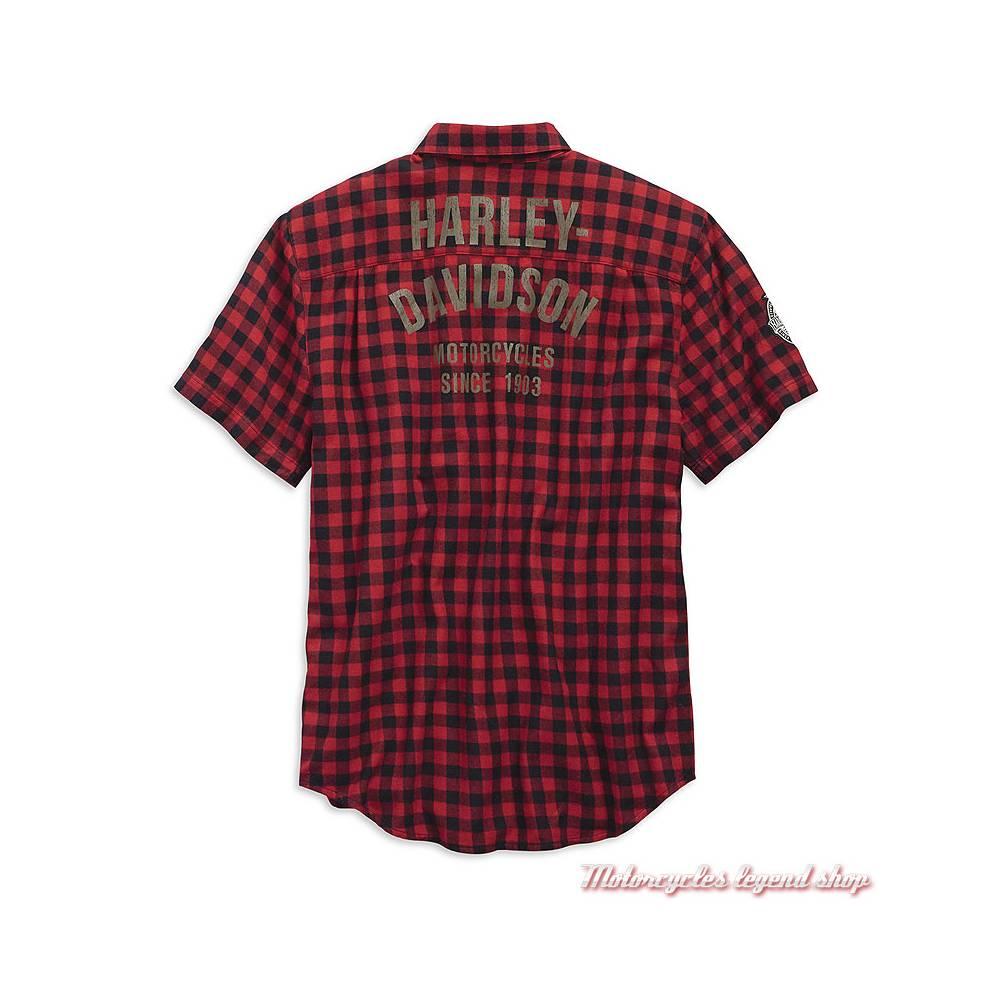 Chemisette Checked à carreaux Harley-Davidson homme, rouge et noir, coton, manches courtes, dos, 99144-19VM