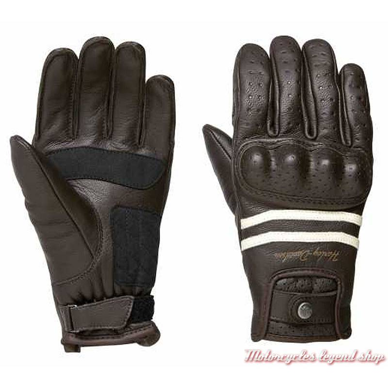 Gants cuir Ringle Harley-Davidson femme, marron, homologués, 98275-19EW