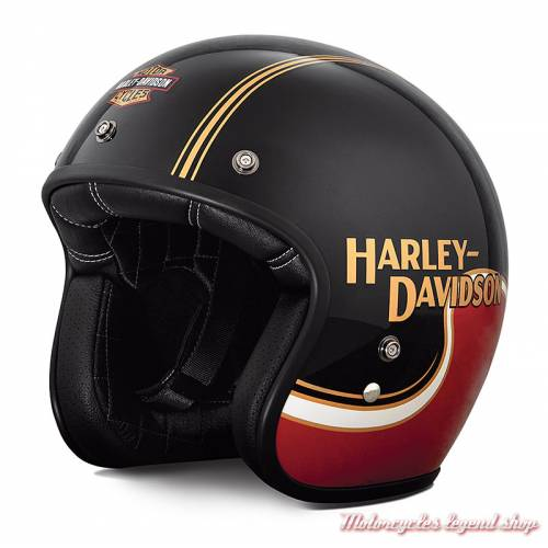 Casque jet The Shovel Harley-Davidson, mixte, noir, rouge, doré, 98277-19EX