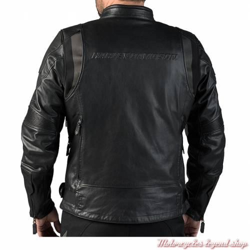 Blouson cuir FXRG Triple Vent Harley-Davidson homme, waterproof, noir, homologué, dos, 98038-19EM