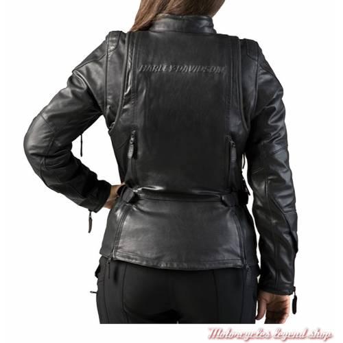 Blouson cuir FXRG Triple Vent Harley-Davidson femme, waterproof, noir, homologué, dos, 98039-19EW