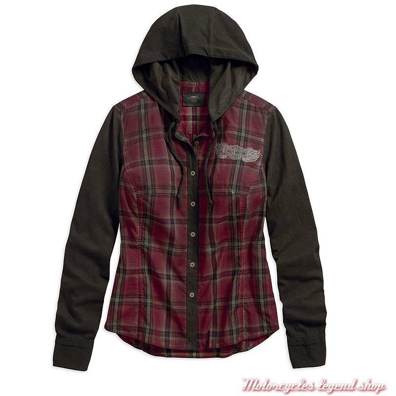 Chemise à capuche Harley-Davidson femme, à carreaux, noir, bordeaux, manches longues, coton, 96336-19VW