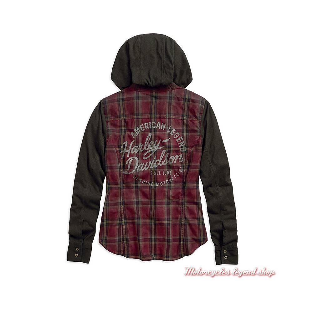 Chemise à capuche Harley-Davidson femme, à carreaux, noir, bordeaux, manches longues, coton, dos, 96336-19VW