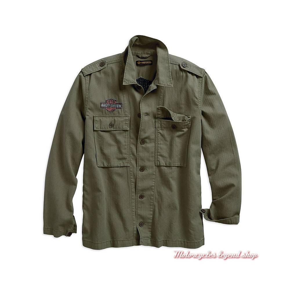 Veste chemise Herringbone Harley-Davidson homme, kaki, manches longues, coton, chevron, 96509-19VM