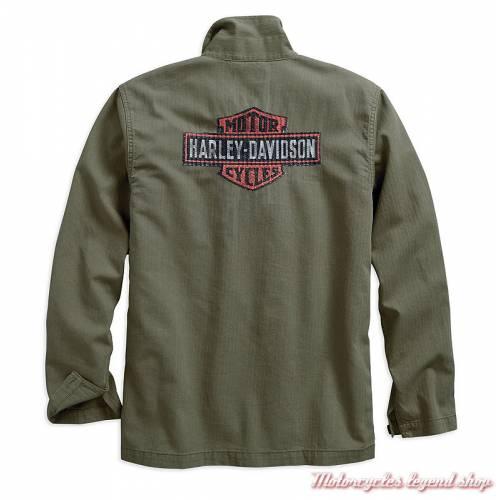 Veste chemise Herringbone Harley-Davidson homme, kaki, manches longues, coton, chevron, dos, 96509-19VM