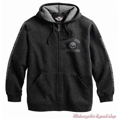 Sweatshirt Skull Harley-Davidson homme, zippé à capuche, gris, coton, polaire, 99107-18VM